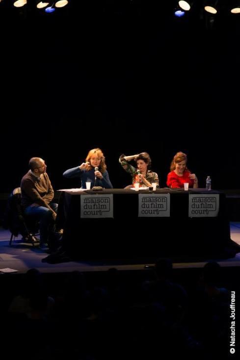 """Table ronde """"l'Art du jeu dans la Comédie""""  De gauche à droite : Richard Sidi, Julie Ferrier, Marina Tomé, Noémie de Lattre"""